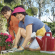 Happy Mother And Daughter Gardening — Stock Photo