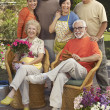 Happy Family In Garden — Stock Photo