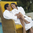 Couple Embracing Poolside — Stock Photo #21790255