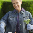 Happy Woman Gardening — Stock Photo
