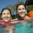 Mother And Daughter Enjoying In Pool - 