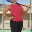 Woman Holding Baseball Bat — Stockfoto