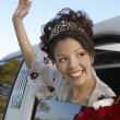 Quinceanera Waving Hand From Car Window — Stock Photo #21791227