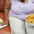 Obese Woman With A Bowl Of Nachos — Stock Photo #21791737