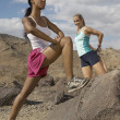 Joggers Stretching On Rock — Stock Photo
