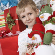 Boy Holding Stuffed Snowman In Front Of Christmas Tree — Stock Photo