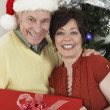 Royalty-Free Stock Photo: Multiethnic Couple Holding Gift Box Standing By Christmas Tree