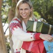 Happy Woman Carrying Gift Boxes — Stok fotoğraf