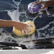 Stock Photo: Hands Washing Car With Sponges