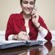 Woman On Call Taking Notes — Foto Stock
