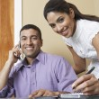 Businessman And Woman Working In Office — Foto de Stock