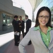 Businesswoman In Front Of Office Building — Stock Photo