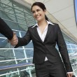 Businesswomen Greeting Each Other - Stockfoto