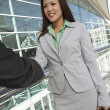 Businesswoman Greeting Male Colleague -  