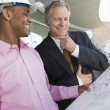Businessman And Architect Looking At Blueprint — Stock Photo