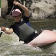 Woman Whitewater Kayaking - Stock Photo