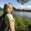 Woman With Binoculars At Lake — Stock Photo