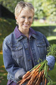 Woman Holding Bunch Of Muddy Carrots — Stock Photo