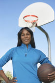 Woman With Basketball At Court — Stock Photo