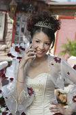 Quinceanera Using Cell Phone — Stock Photo