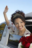 Quinceanera Waving Hand From Car Window — Stock Photo