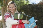 Beautiful Woman Carrying Presents — Stock Photo