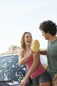 Couple Washing Car — Stock Photo