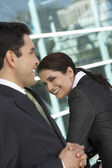 Happy Businesspeople Outside Office — Stock Photo