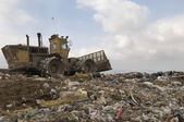 Excavator At Dumping Ground — Stock Photo
