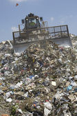 Moving Trash In A Landfill — Stock Photo