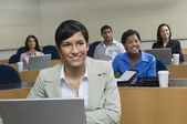 Businesswoman In Presentation With Colleagues — Stock Photo