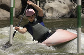 Woman Whitewater Kayaking — Stock Photo