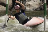 Woman Whitewater Kayaking — Stock Photo