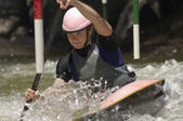Young Woman Whitewater Kayaking — Stock Photo
