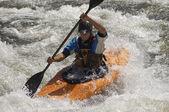 Man Kayaking On Mountain River — Stock Photo