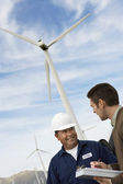 Engineers At Wind Farm — Stock Photo