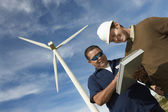 Engineers Working At Wind Farm — Stock Photo