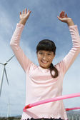 Girl Playing With Hula Hoop — Stock Photo