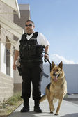 Security Guard With Dog On Patrol — Stock Photo