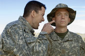 Soldier Yelling At Colleague — Stock Photo
