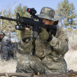 Soldiers Aiming Machine Guns — Stockfoto