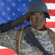 图库照片: Portrait Of US Army Soldier Saluting