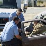 Firefighter And Paramedics At Crash Scene — Stock Photo