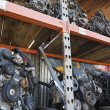 Royalty-Free Stock Photo: Engines On Shelves In Junkyard