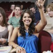 Stock Photo: Happy Student Answering In Class