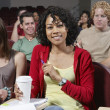 Happy Female Student In Classroom — Foto Stock