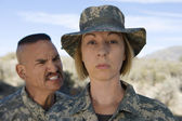 Female Soldier and commander — Stock Photo