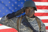 Portrait Of US Army Soldier Saluting — Stock Photo