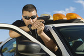 Police Officer Aiming Handgun — Stock Photo
