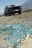 Broken Windshield Pieces On Ground — Stock Photo